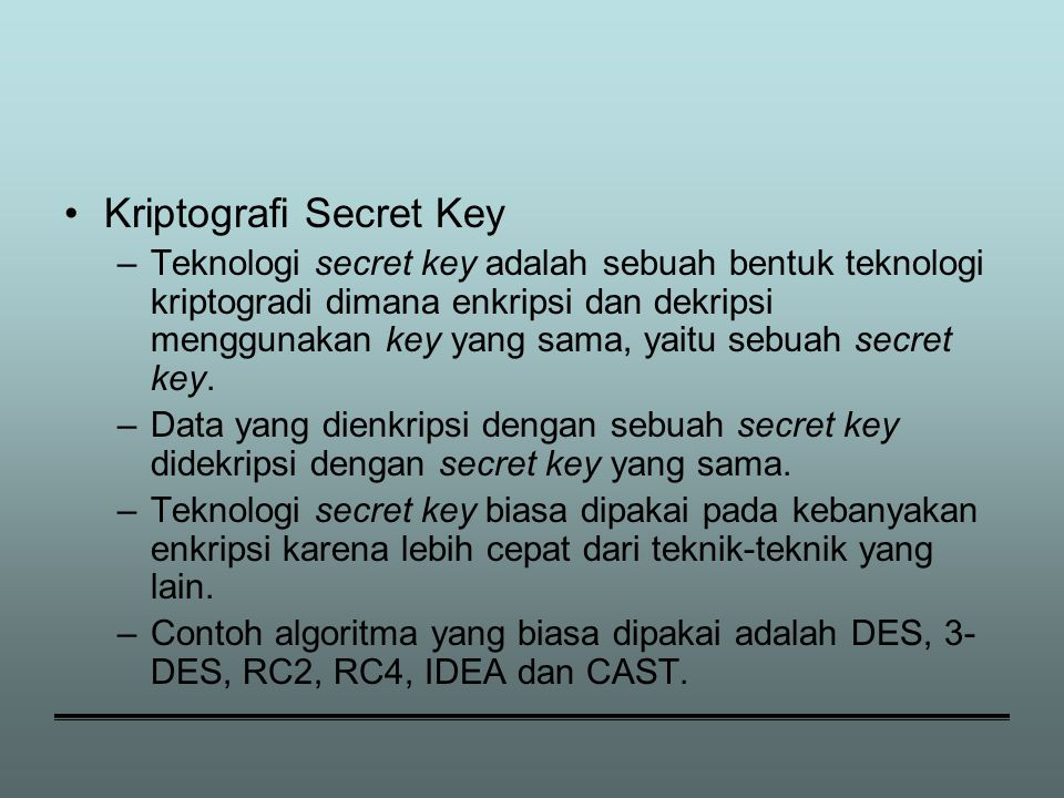 Kriptografi Secret Key