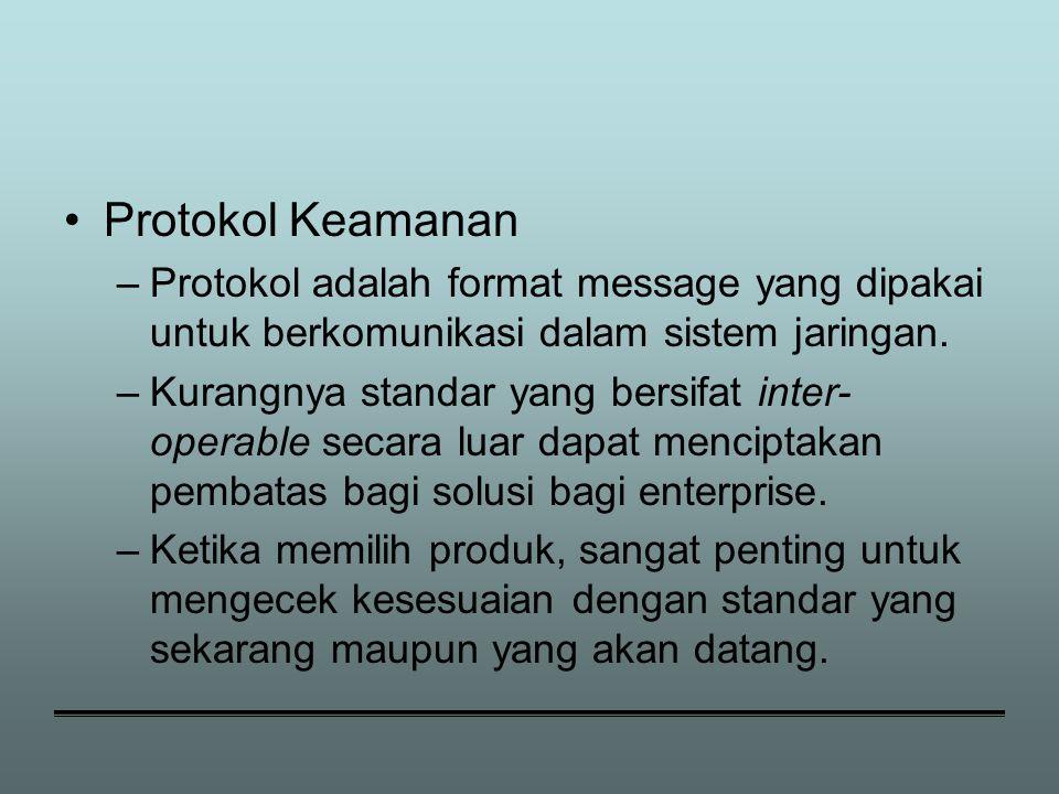 Protokol Keamanan Protokol adalah format message yang dipakai untuk berkomunikasi dalam sistem jaringan.