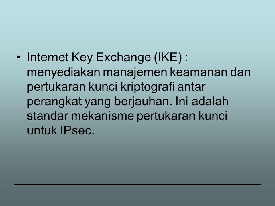 Internet Key Exchange (IKE) : menyediakan manajemen keamanan dan pertukaran kunci kriptografi antar perangkat yang berjauhan.