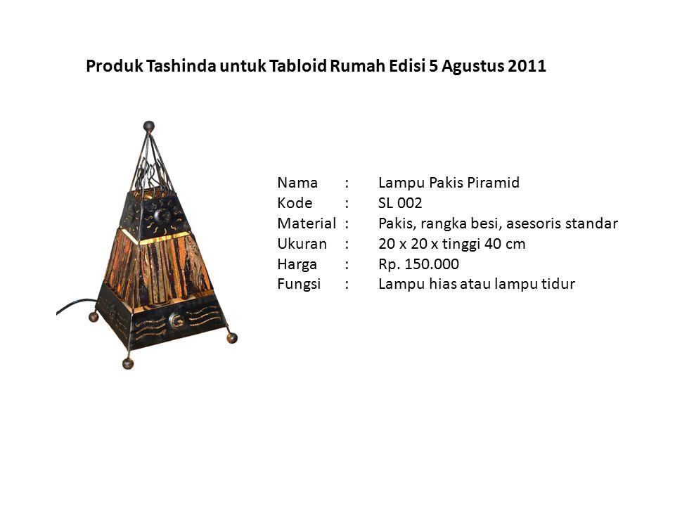 Produk Tashinda untuk Tabloid Rumah Edisi 5 Agustus 2011