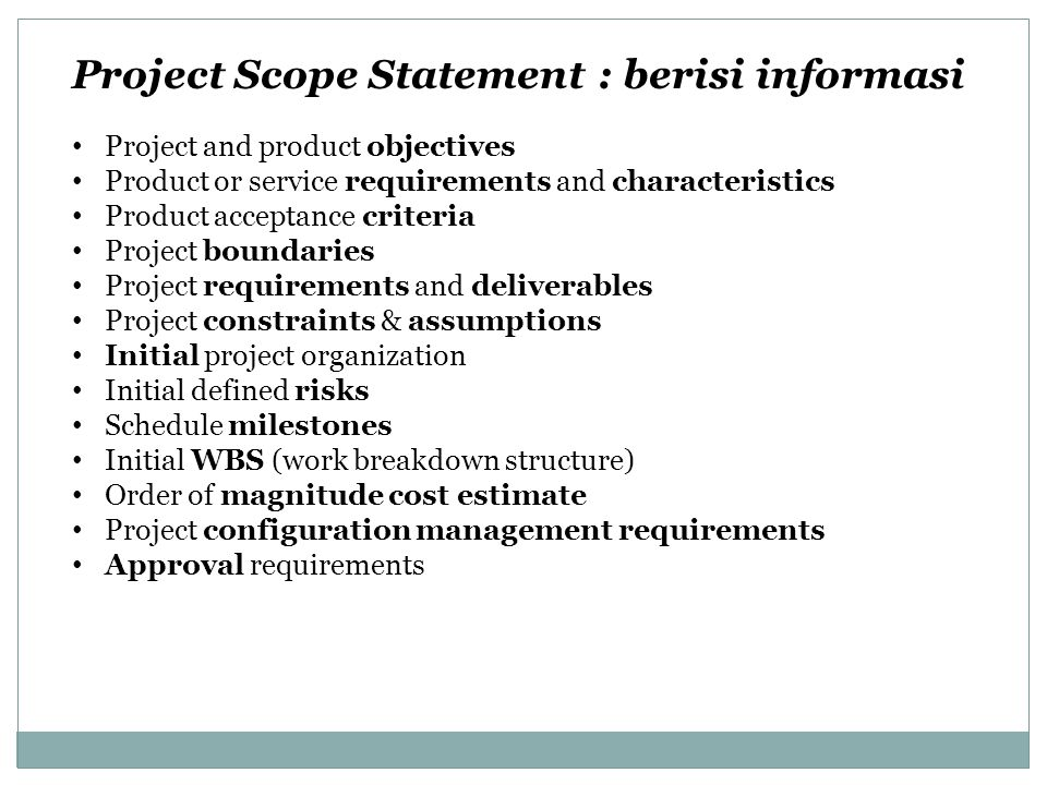 Project Scope Statement : berisi informasi