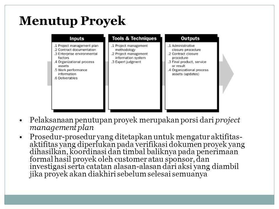 Menutup Proyek Pelaksanaan penutupan proyek merupakan porsi dari project management plan.
