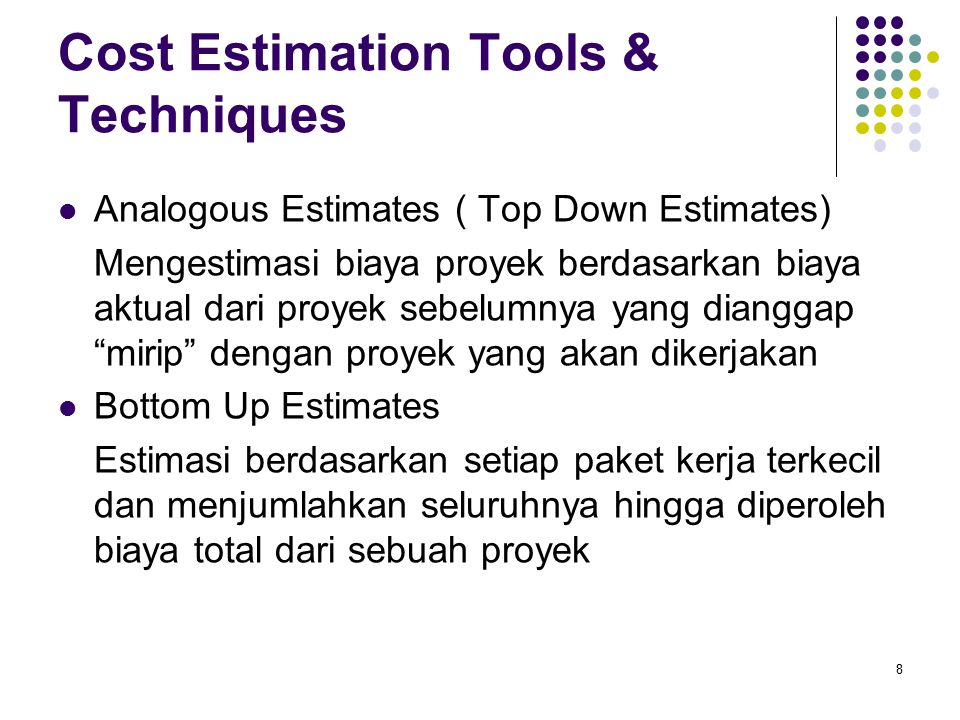 Cost Estimation Tools & Techniques