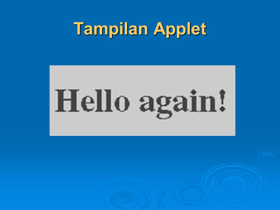 Tampilan Applet