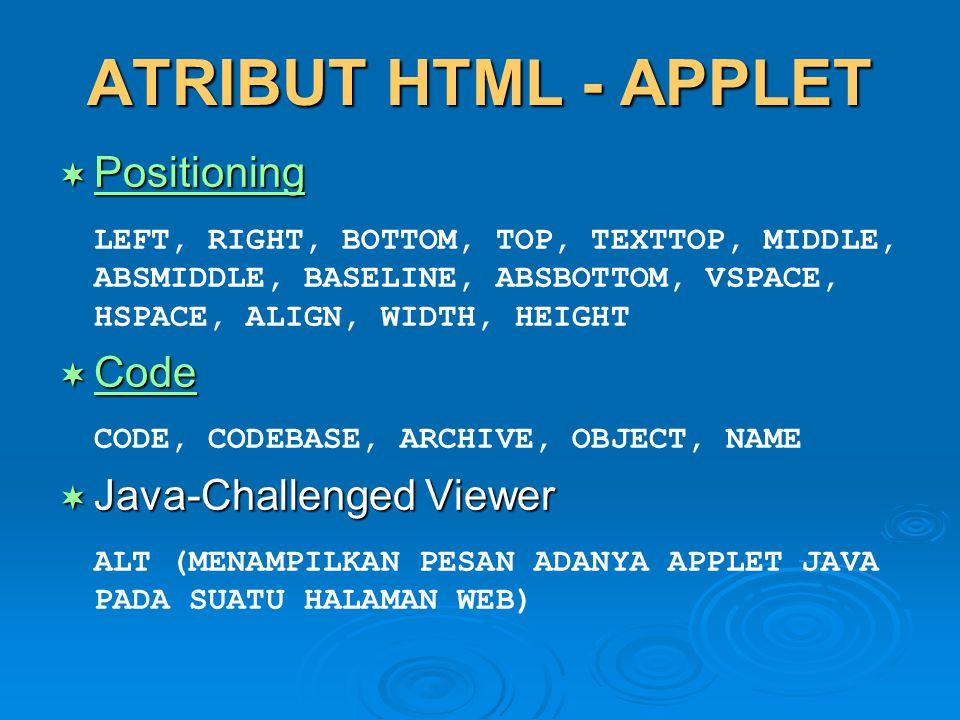 ATRIBUT HTML - APPLET Positioning