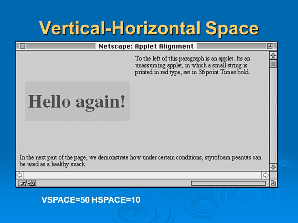 Vertical-Horizontal Space