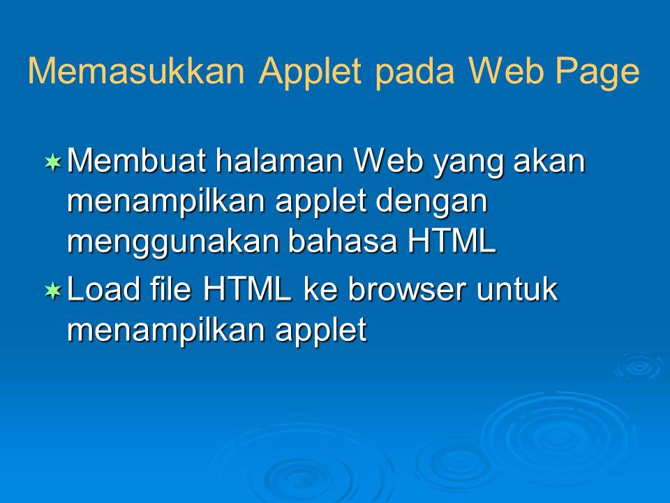 Memasukkan Applet pada Web Page