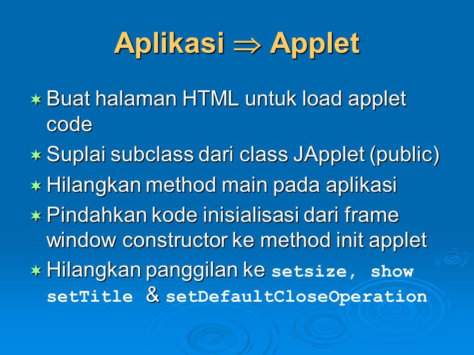 Aplikasi  Applet Buat halaman HTML untuk load applet code