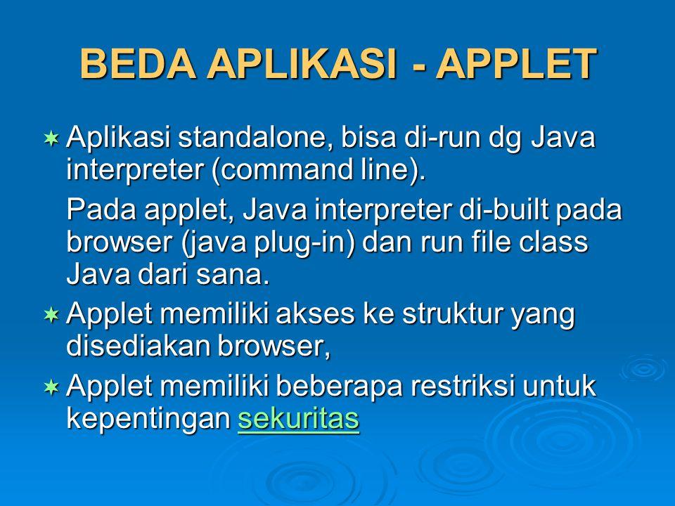 BEDA APLIKASI - APPLET Aplikasi standalone, bisa di-run dg Java interpreter (command line).