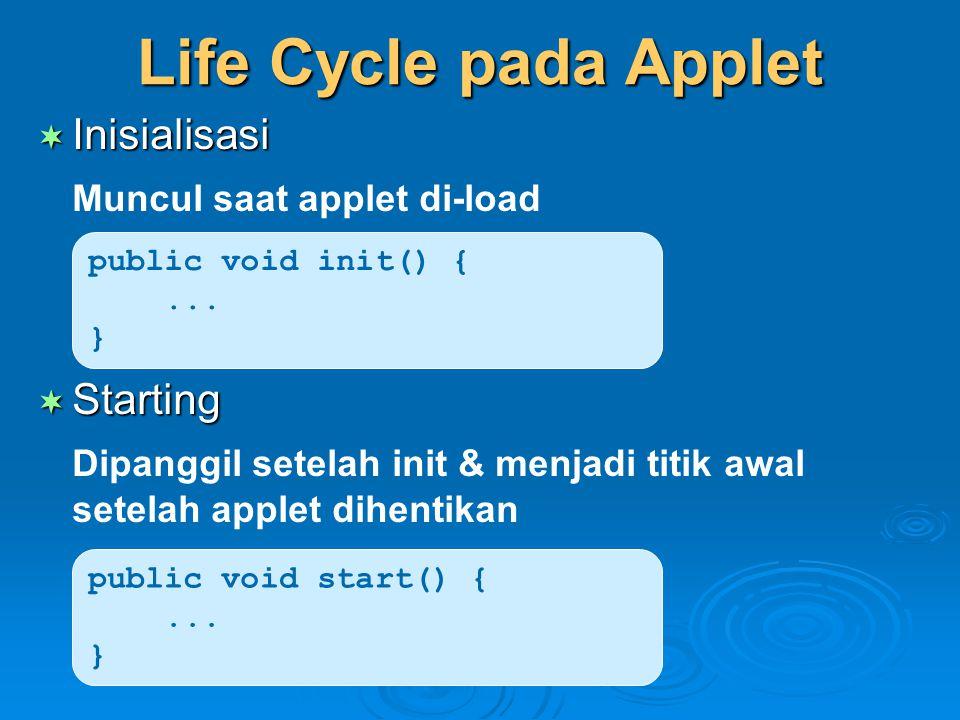 Life Cycle pada Applet Inisialisasi Muncul saat applet di-load