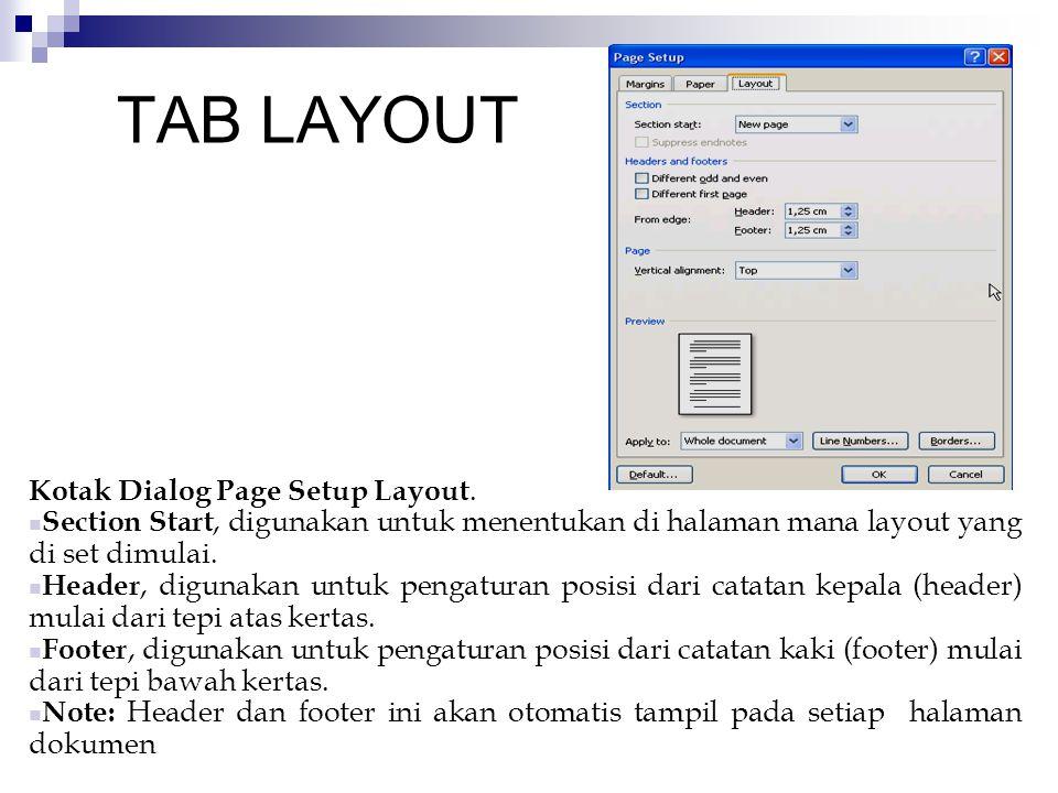 TAB LAYOUT Kotak Dialog Page Setup Layout.