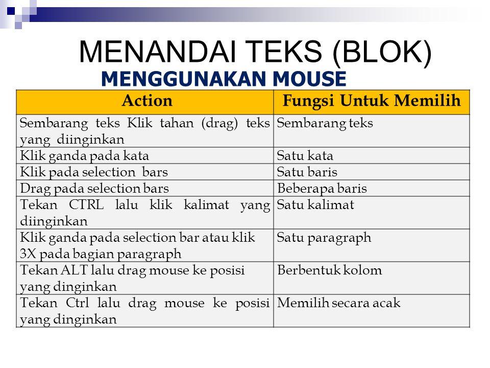 MENANDAI TEKS (BLOK) MENGGUNAKAN MOUSE Action Fungsi Untuk Memilih