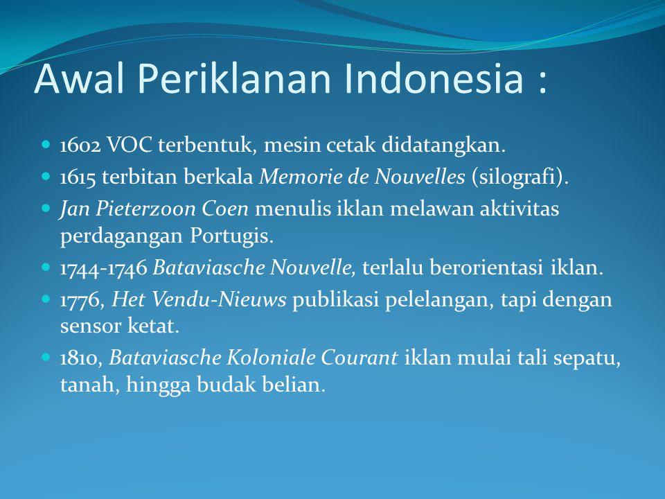 Awal Periklanan Indonesia :