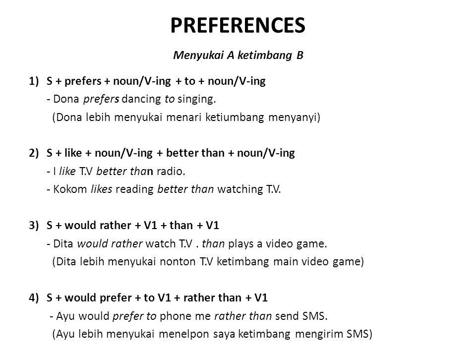 PREFERENCES Menyukai A ketimbang B