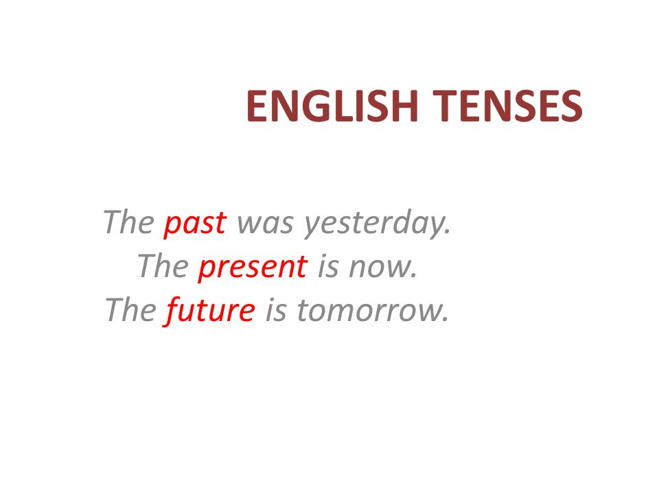 The past was yesterday. The present is now. The future is tomorrow.