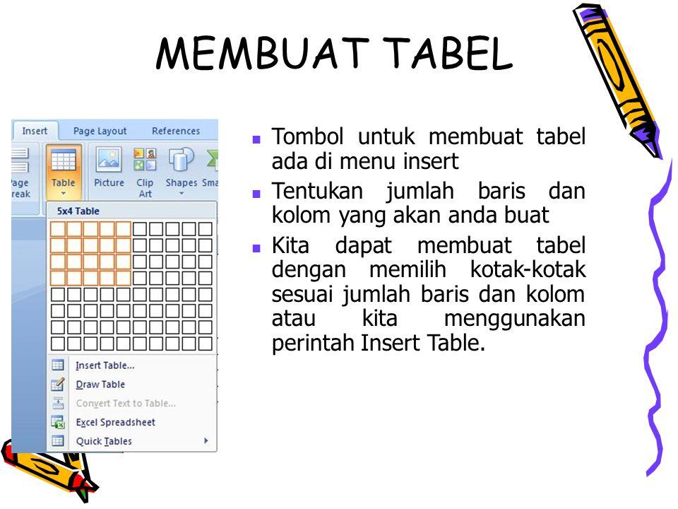 MEMBUAT TABEL Tombol untuk membuat tabel ada di menu insert