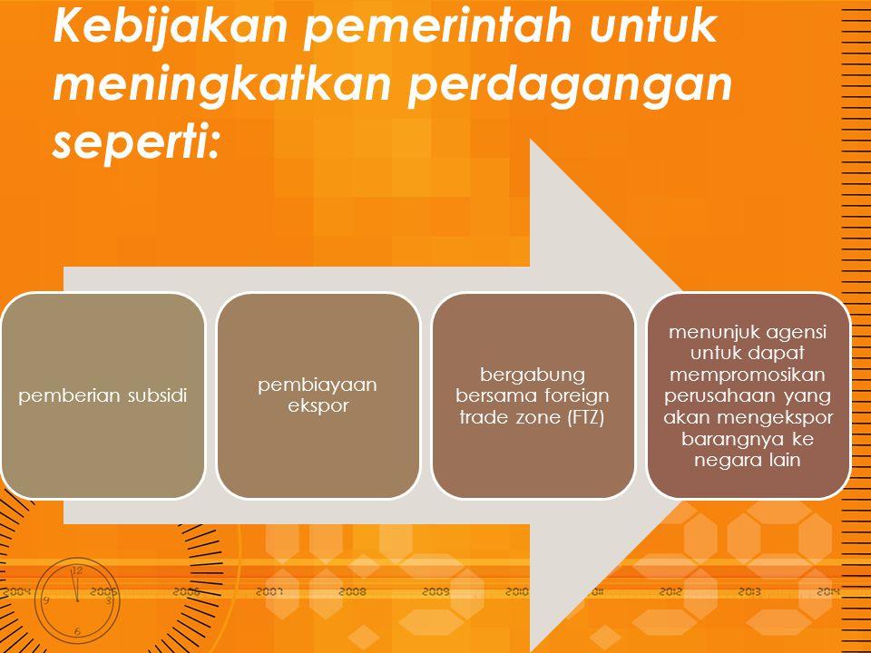 Kebijakan pemerintah untuk meningkatkan perdagangan seperti: