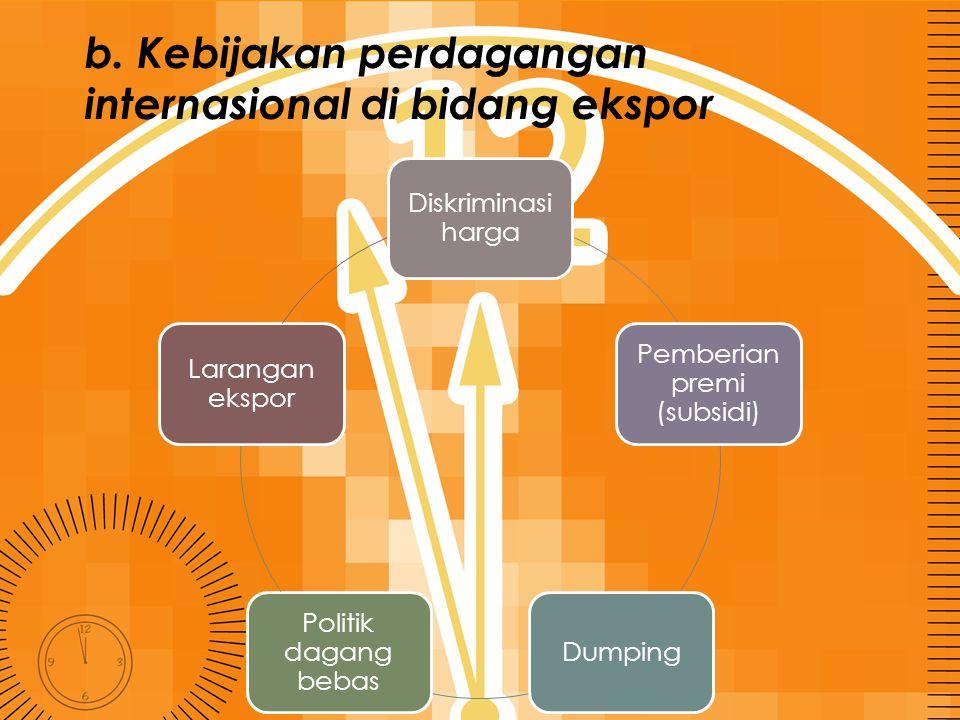 b. Kebijakan perdagangan internasional di bidang ekspor