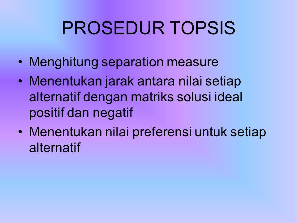 PROSEDUR TOPSIS Menghitung separation measure