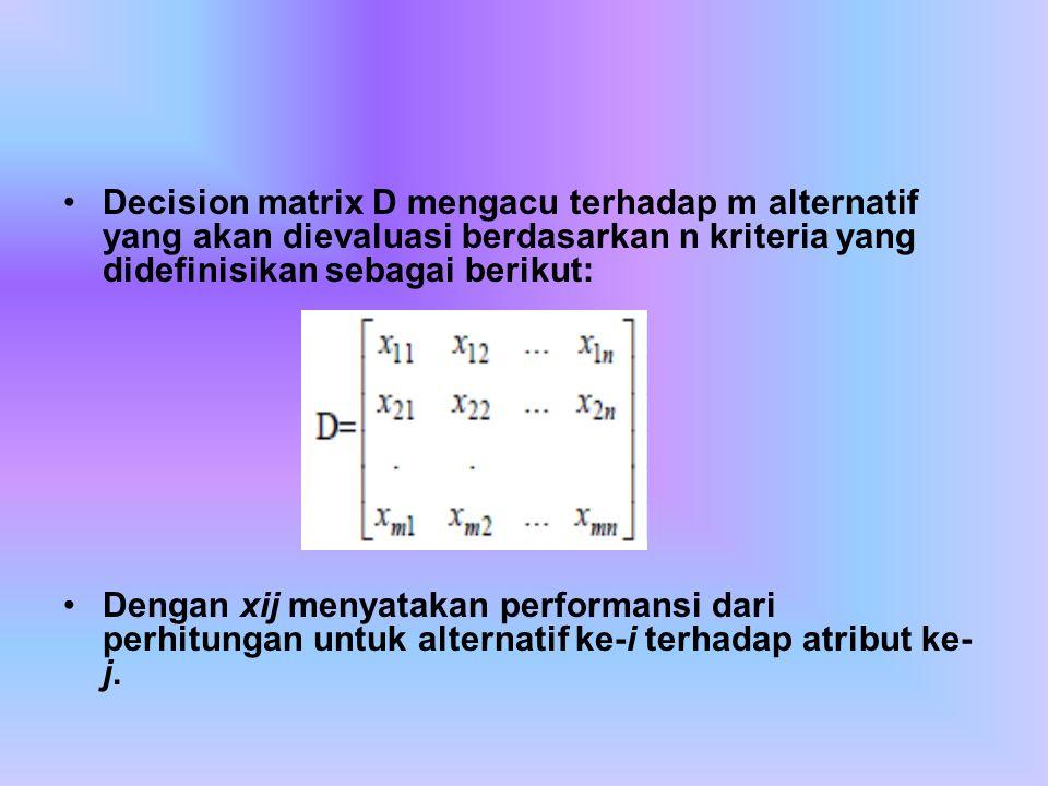 Decision matrix D mengacu terhadap m alternatif yang akan dievaluasi berdasarkan n kriteria yang didefinisikan sebagai berikut: