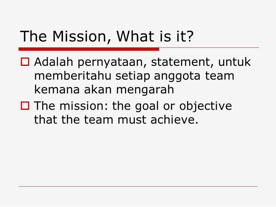 The Mission, What is it Adalah pernyataan, statement, untuk memberitahu setiap anggota team kemana akan mengarah.