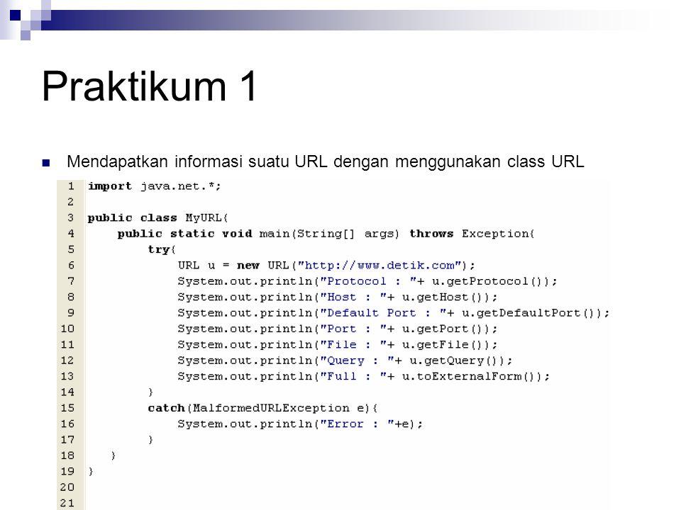 Praktikum 1 Mendapatkan informasi suatu URL dengan menggunakan class URL