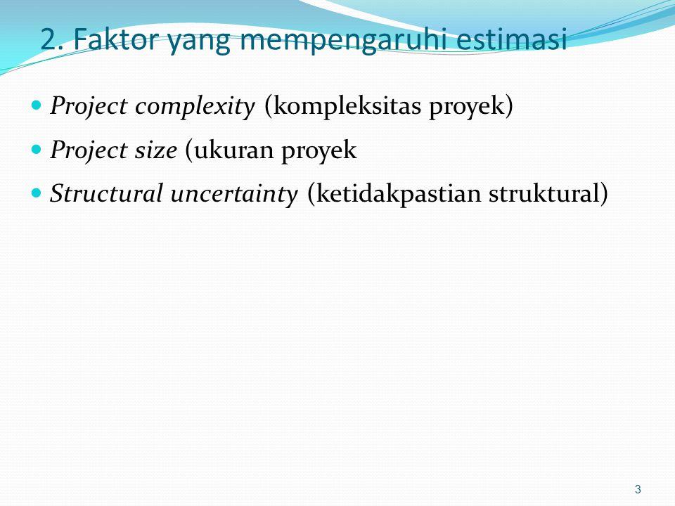 2. Faktor yang mempengaruhi estimasi