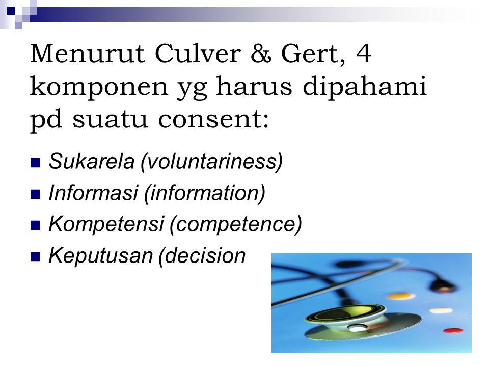 Menurut Culver & Gert, 4 komponen yg harus dipahami pd suatu consent: