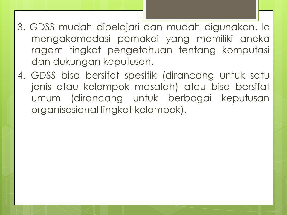 3. GDSS mudah dipelajari dan mudah digunakan
