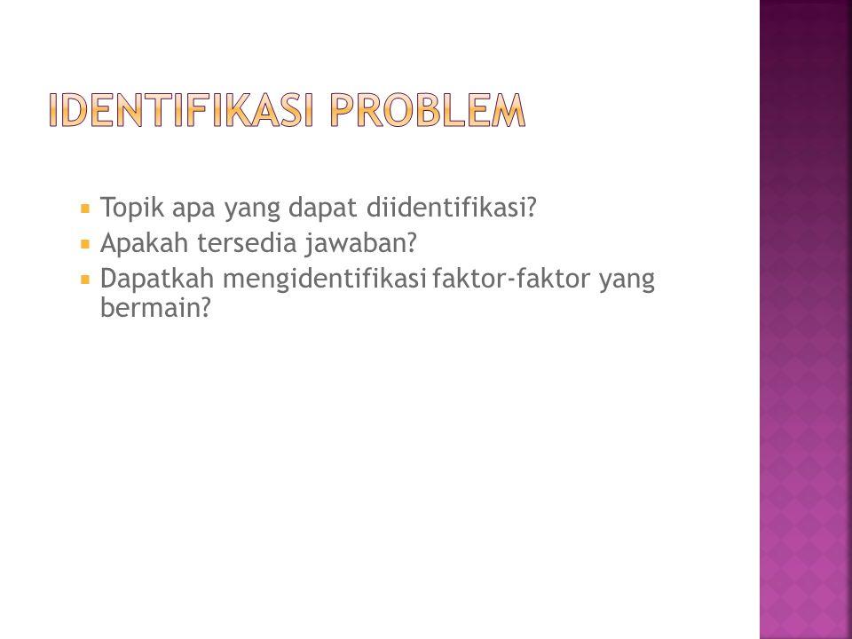 Identifikasi Problem Topik apa yang dapat diidentifikasi