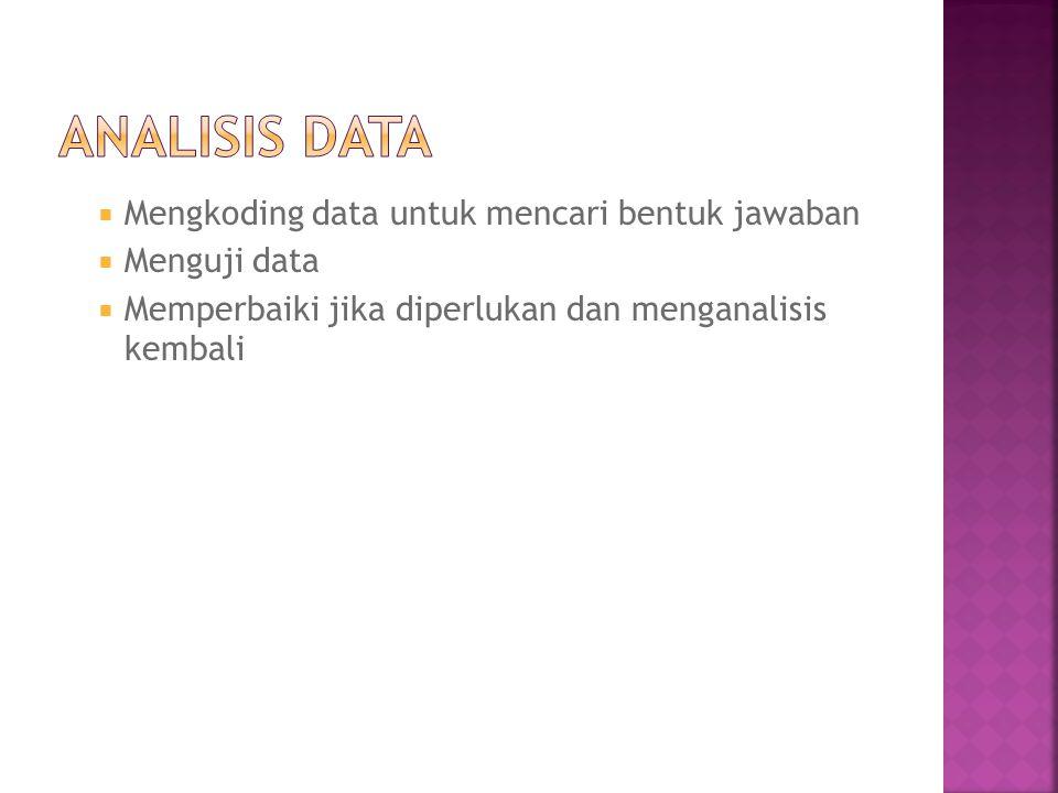 Analisis Data Mengkoding data untuk mencari bentuk jawaban