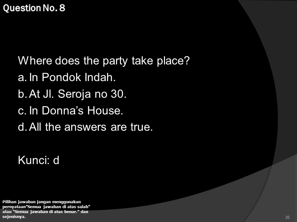Where does the party take place In Pondok Indah. At Jl. Seroja no 30.