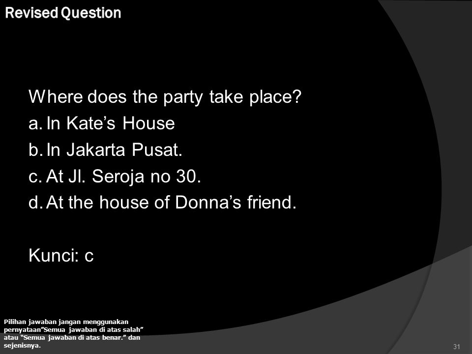 Where does the party take place In Kate's House In Jakarta Pusat.