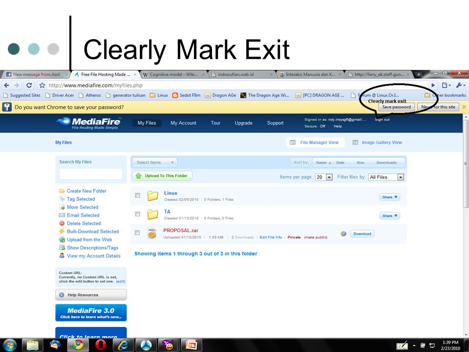 Clearly Mark Exit
