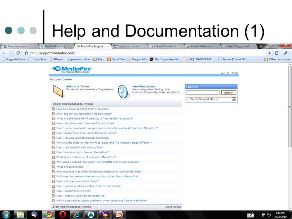 Help and Documentation (1)