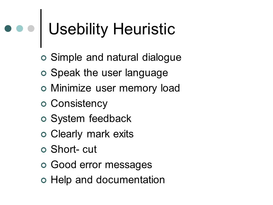 Usebility Heuristic Simple and natural dialogue