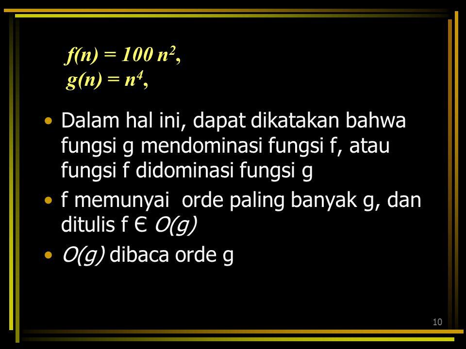 f(n) = 100 n2, g(n) = n4, Dalam hal ini, dapat dikatakan bahwa fungsi g mendominasi fungsi f, atau fungsi f didominasi fungsi g.