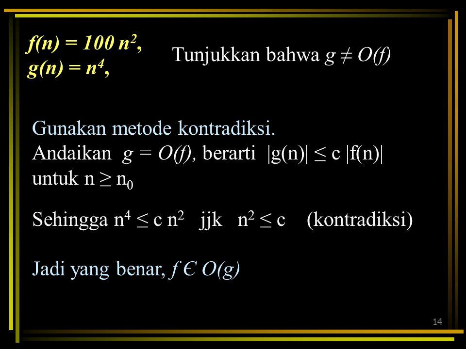 f(n) = 100 n2, g(n) = n4, Tunjukkan bahwa g ≠ O(f) Gunakan metode kontradiksi. Andaikan g = O(f), berarti |g(n)| ≤ c |f(n)| untuk n ≥ n0.