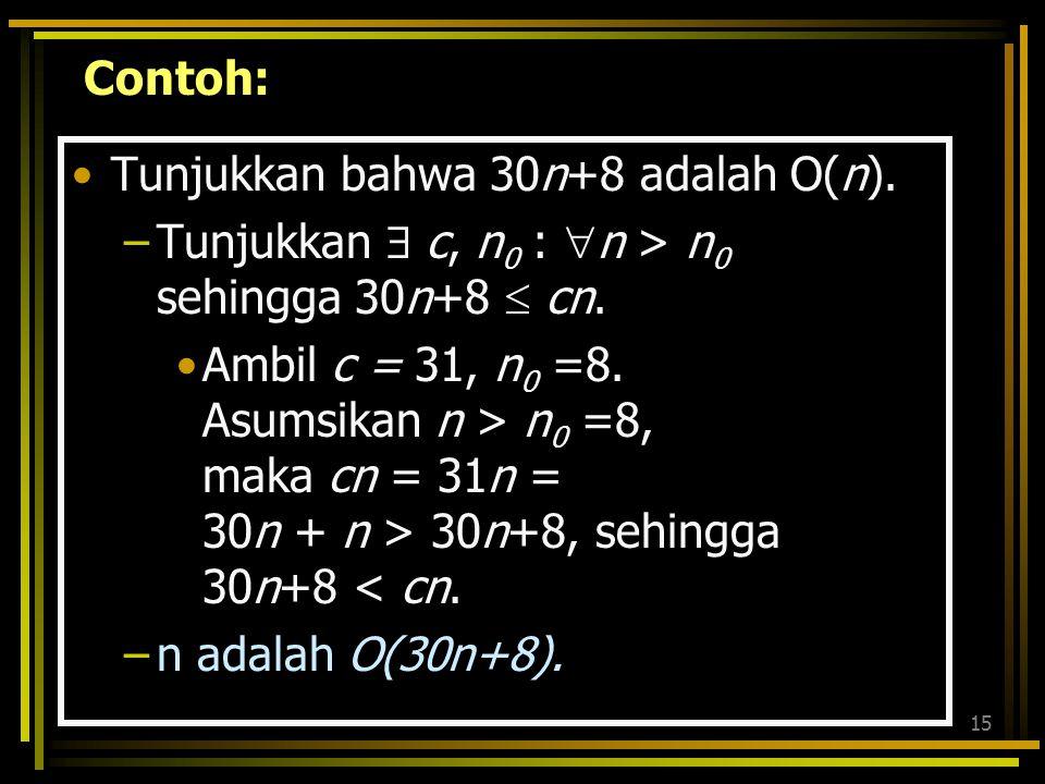 Contoh: Tunjukkan bahwa 30n+8 adalah O(n). Tunjukkan  c, n0 : n > n0 sehingga 30n+8  cn.