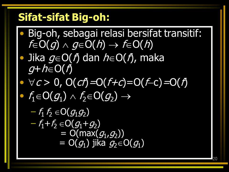 Big-oh, sebagai relasi bersifat transitif: fO(g)  gO(h)  fO(h)