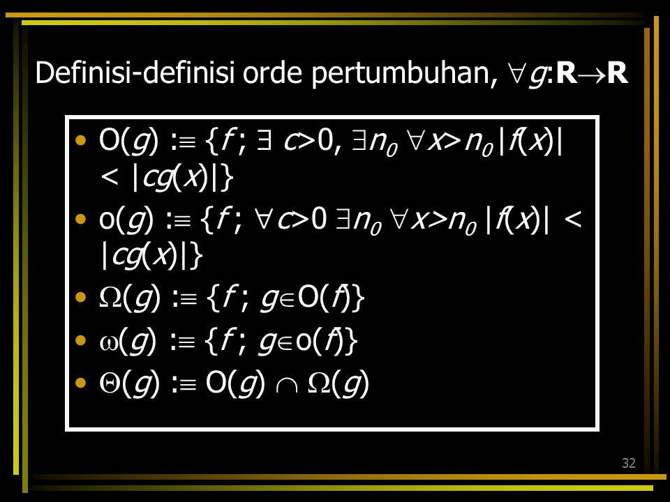Definisi-definisi orde pertumbuhan, g:RR