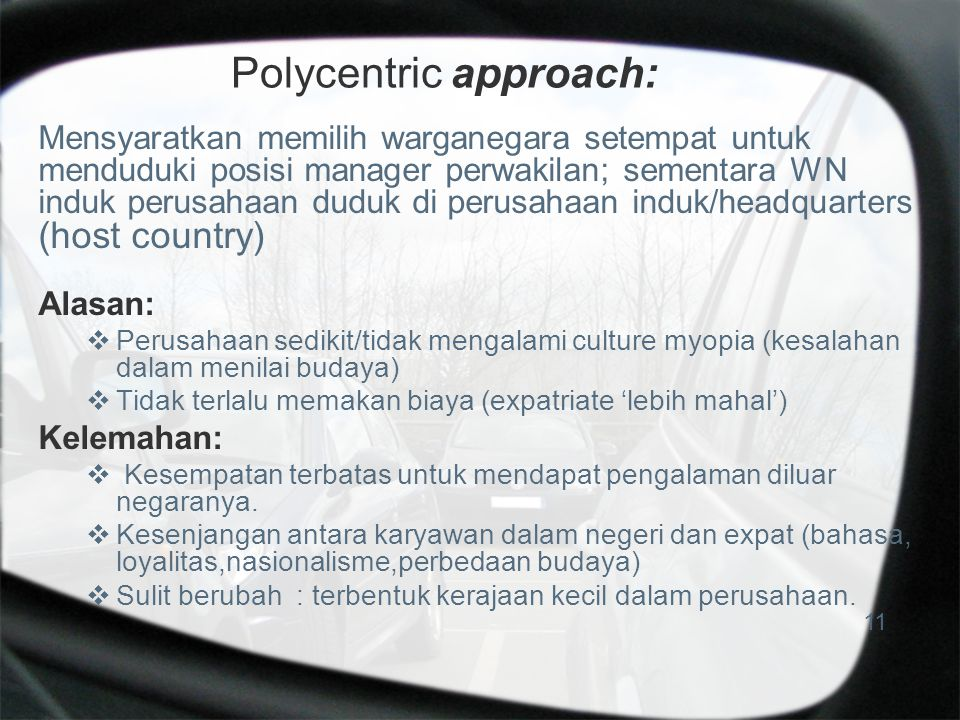 Polycentric approach: