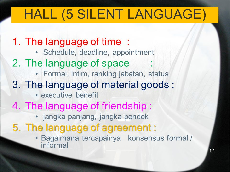 HALL (5 SILENT LANGUAGE)