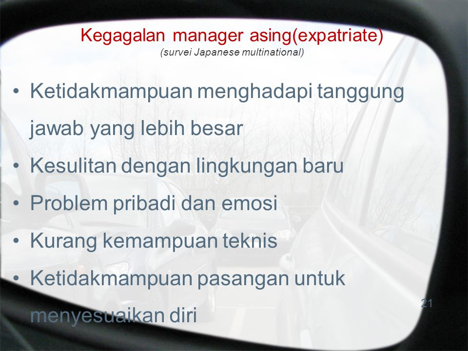 Kegagalan manager asing(expatriate) (survei Japanese multinational)