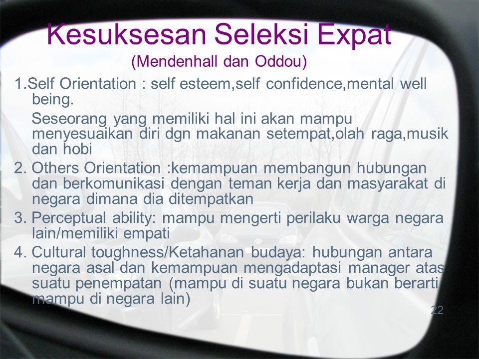 Kesuksesan Seleksi Expat (Mendenhall dan Oddou)
