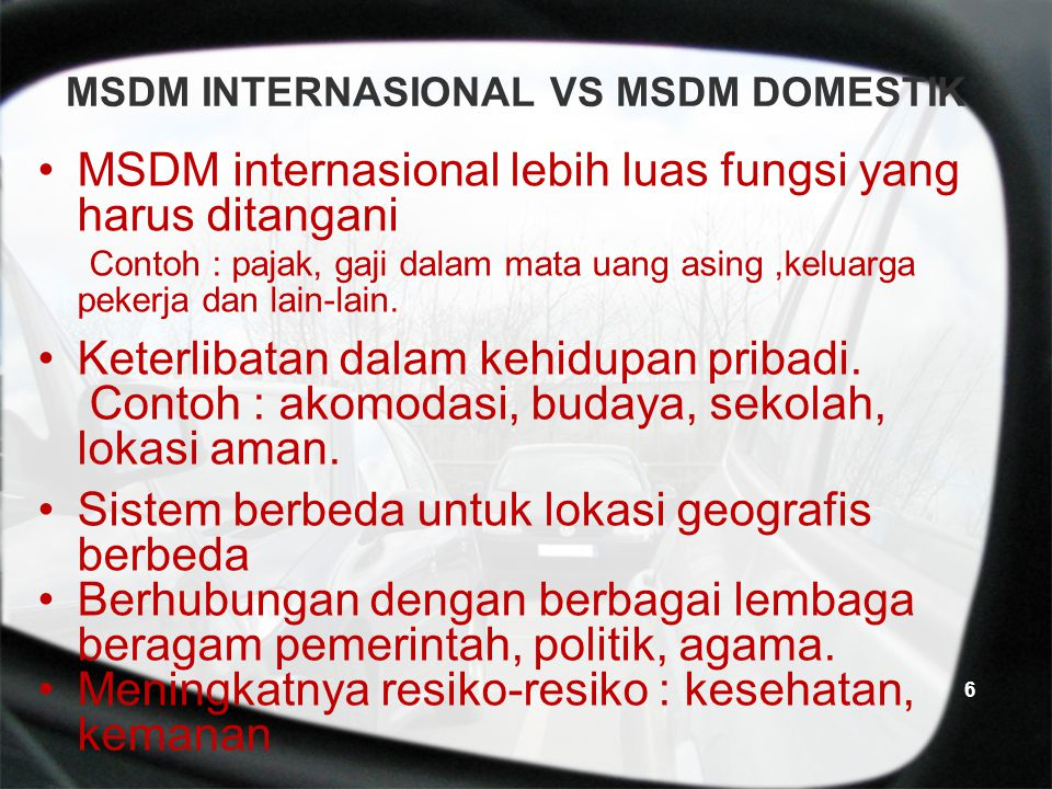 MSDM INTERNASIONAL VS MSDM DOMESTIK
