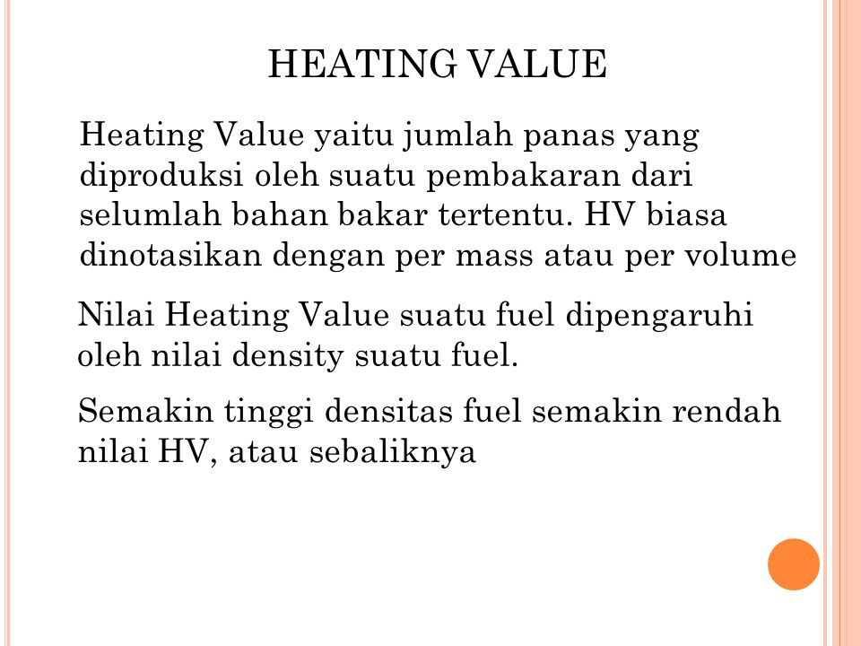HEATING VALUE