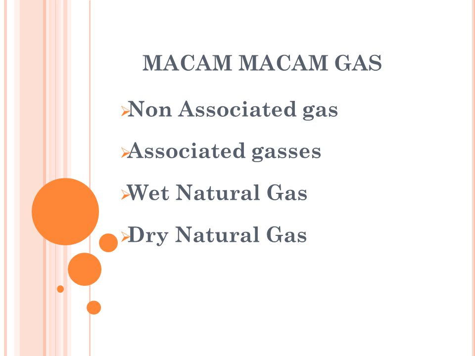 MACAM MACAM GAS Non Associated gas Associated gasses Wet Natural Gas Dry Natural Gas