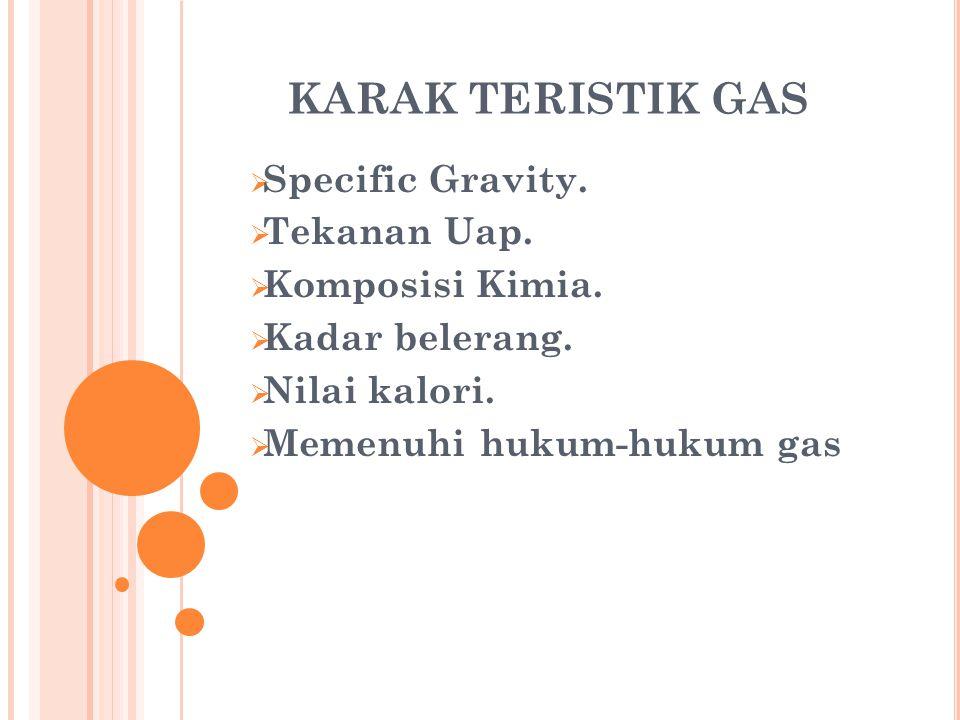 KARAK TERISTIK GAS Specific Gravity. Tekanan Uap. Komposisi Kimia.