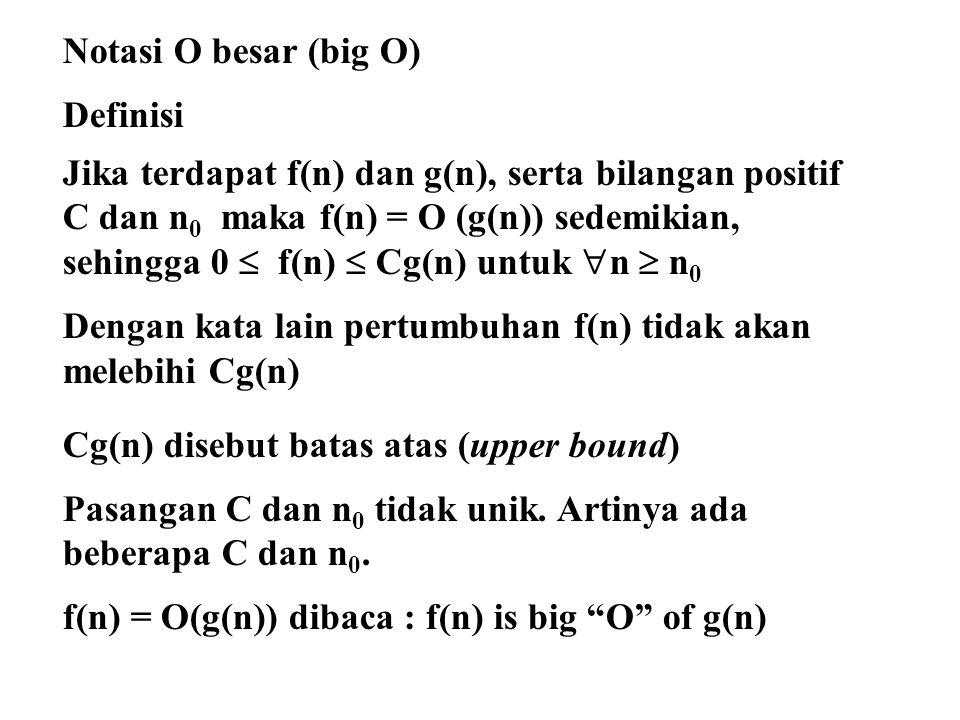 Notasi O besar (big O) Definisi. Jika terdapat f(n) dan g(n), serta bilangan positif. C dan n0 maka f(n) = O (g(n)) sedemikian,